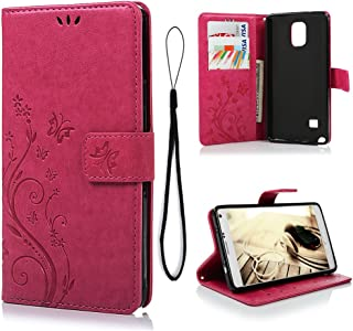 MOLLYCOOCLE Galaxy Note 4 Wallet Case,MOTIKO PU Leather Flip Folio Wallet Case for Samsung Galaxy Note 4 with Lightwight Slim Shockproof TPU Bumper Cover