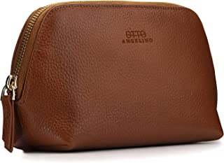 Otto Angelino Genuine Leather Makeup Bag Cosmetic Pouch Travel Organizer Toiletry Clutch, Light Brown