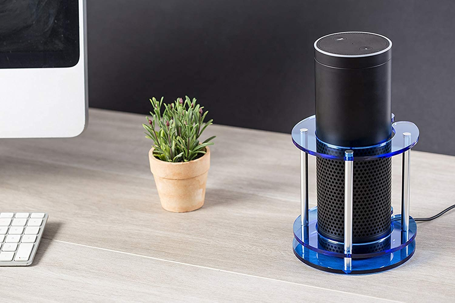 Acrylic Speaker Stand for Amazon Echo, UE Boom and Other Models - Predect and Stabilize Alexa by Wasserstein (bluee)