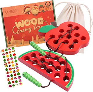 Lacing Toy for Toddlers: Wooden Threading Toys, 1 Apple and 1 Watermelon with Bag and Sticker, Educational and Learning Montessori Activity for Baby and Kids, Great Car and Plane Puzzle Travel Games