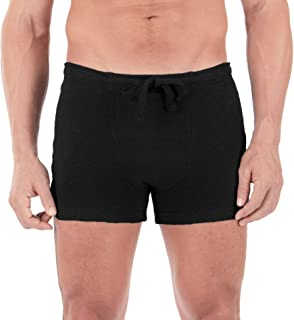 Cottonique Men's Hypoallergenic Ribbed Drawstring Boxer Brief with Fly Made from 100% Organic Cotton