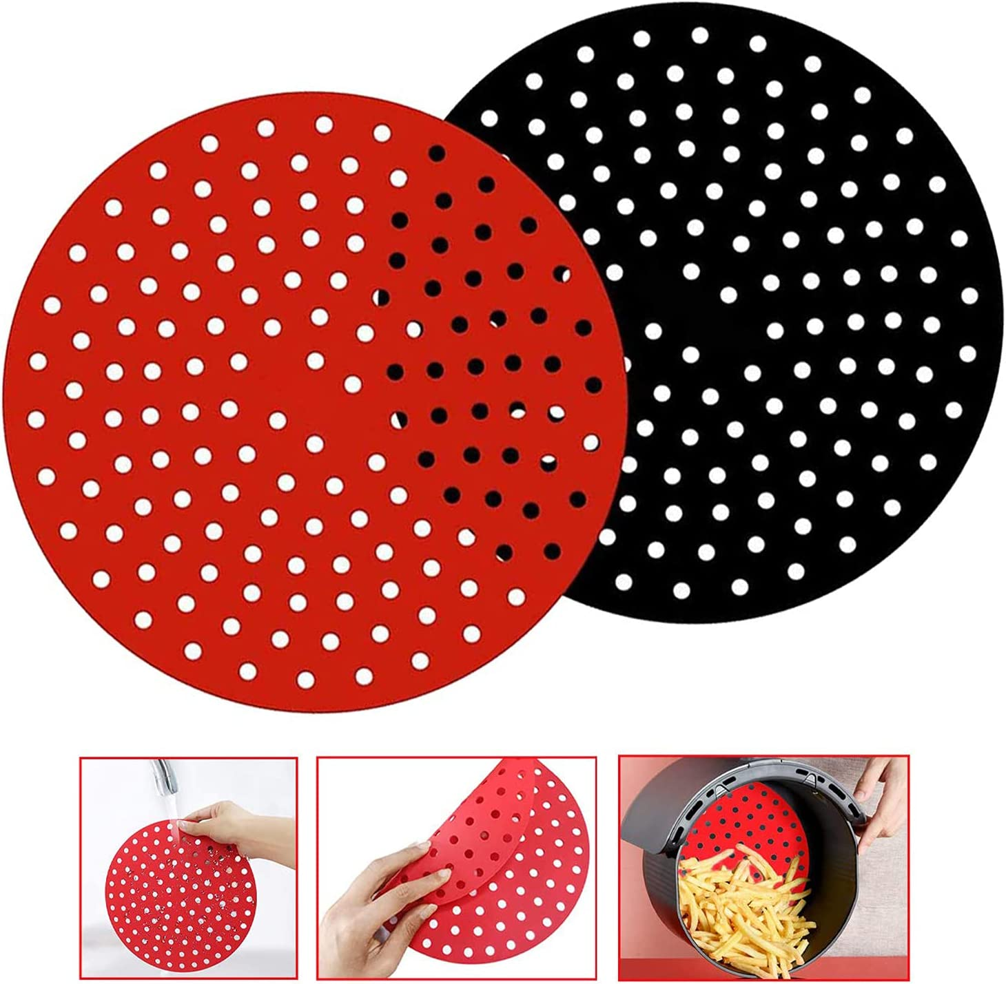 Reusable Air Fryer Liners, BECILES 8 Inches Round Non-Stick Silicone Air Fryer Mats,Air Fryer Basket, Mats Air Fryer Accessories For 5.6 QT & Larger AirFryers,BPA Free (8inch)