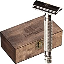 Safety Razor - Premium Solid Brass Handle Double Edge Safety Razor, Easy Cleaning Design, Traditional Razor with Wooden Gift Box,Classic Razor, Three Piece Razor, Mens Razor for Shaving