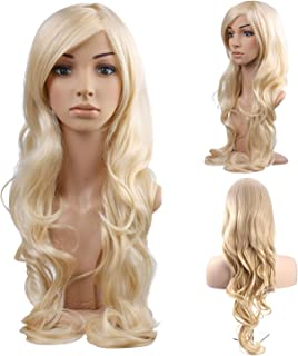 MelodySusie Blonde Long Curly Wavy Wig for Women Girl, 34 Inches Synthetic Hair Replacements Wigs with Side Part Bangs Daily Halloween Cosplay Costume Wig with Free Wig Cap,Light Blonde
