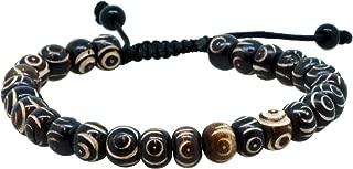 Tibetan Buddhist Simulated Turquoise Yak Bone Shell Om Mani Padme Hum Prayer Beads Wrist Mala Bracelet