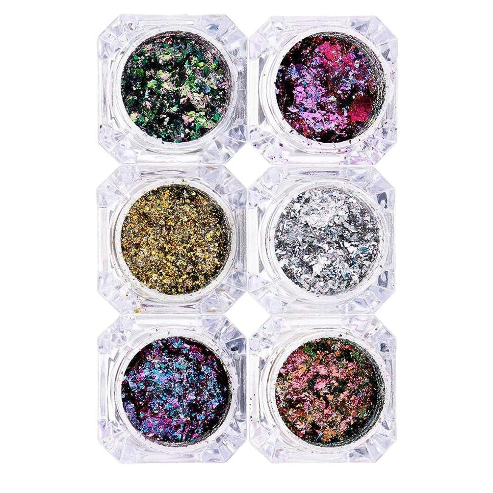 湿気の多い過度にクアッガP Prettyia 6箱 混合色 化粧 ネイルアート キラキラ装飾 スパンコール