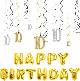 MAGJUCHE 10th Birthday Decorations Kit-Gold Silver Glitter Happy 10 years old Birthday Banner & Sparkling Celebration Hanging Swirls, Party Supplies