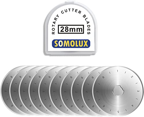 SOMOLUX 28mm Rotary Cutter Blades 10 Pack, Fits OLFA,Fiskars Etc Rotary Cutter Replacement, Quilting Scrapbooking Sew...