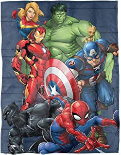 Marvel Avengers Super Hero Squad Weighted Blanket Measures 40x60 inches 5lbs, Kids Bedding Features Captain America, Iron Man, Black Panther, Spiderman, Hulk & Captain Marvel-(Official Marvel Product)