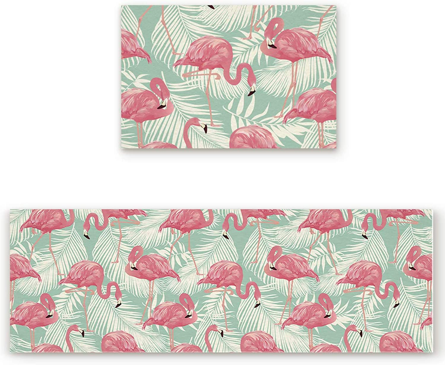 SODIKA 2 Pieces Kitchen Rug Set,Non-Skid Slip Washable Doormat Floor Runner Bathroom Area Rug Carpet,Tropical Plant Pink Flamingos (19.7x31.5in+19.7x63 inches)