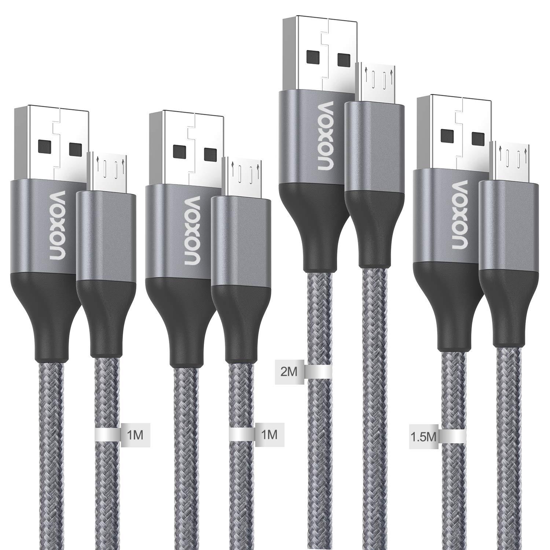 VOXON Cable Micro USB, Cable de Carga 4-Pack [1M* 2, 2M, 1.5M] de