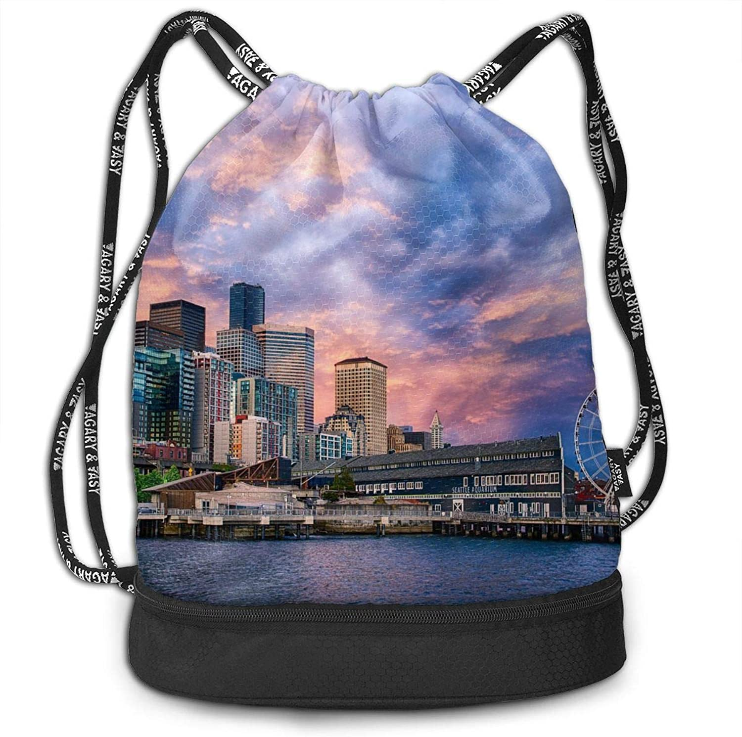 Gymsack Ferris Wheel in The Modern City Print Drawstring Bags  Simple School String Bag