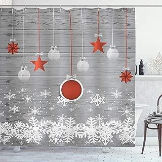 Ambesonne Christmas Shower Curtain, Cloth Fabric Bathroom Decor Set with Hooks, Pendant Stars Baubles, 70