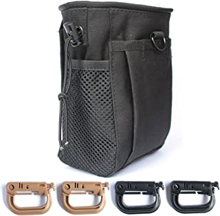 Tactical Gear Bundles, Tactical Molle Drawstring Magazine, Dump Pouch and 4 Piece Grimloc Locking D-Ring, Military Adjustable Belt, Coyote Brown/Black
