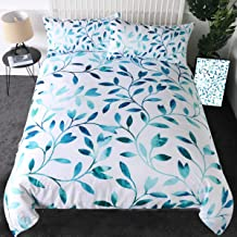 Sleepwish Turquoise Vine Bed Spread Teal Leaves White Fresh Duvet Cover 3 Pieces Elegant Green Blue Bedding Sets (Queen)
