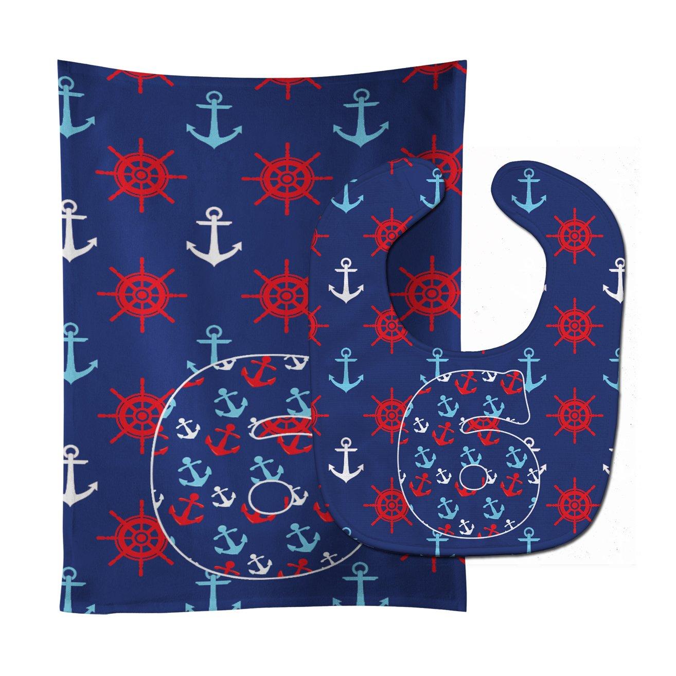 Caroline's Treasures BB8877STBU Nautical Month 6 Baby Bib & Burp Cloth, 11 x 18