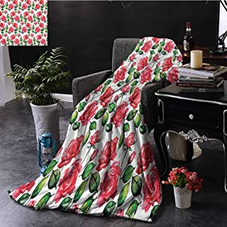 Decorative Throwing Blanket, Lightweight Super Soft Comfort Roses Decorations Fresh Seasonal Watercolor Endless Roses and Leafs Buds Planet Earth Theme Print, 60