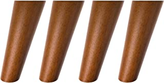 Round Solid Wood Furniture Legs Sofa Replacement Legs Perfect for Mid-Century Modern/Great IKEA hack for Sofa, Couch, Bed, Coffee Table (Walnut Color, 6 Inches,Set of 4)