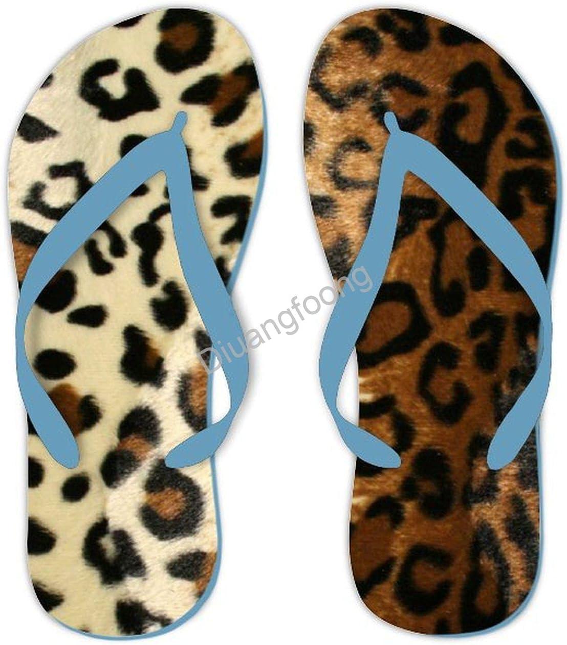 Leopard Flip Flops Comfortable Pool Thong Sandal Pretty Sandal For House Bathroom Party Blue Style8