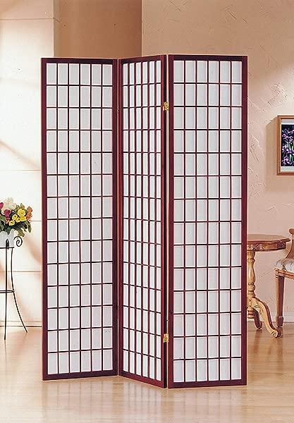 GTU Furniture Japanese Style 3 Panels Wood Shoji Room Divider Screen Oriental For Home Office Cherry