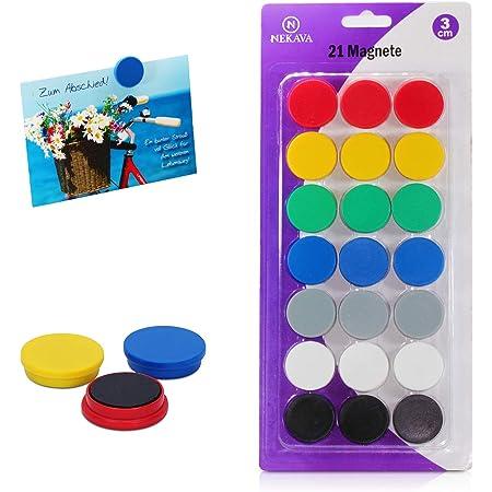 Nekava 21 aimants pour tableau blanc en 7 couleurs. Les petits aimants ronds sont parfaits pour l'école, les séminaires, le travail sur tableau magnétique ou même à la maison sur le frigo