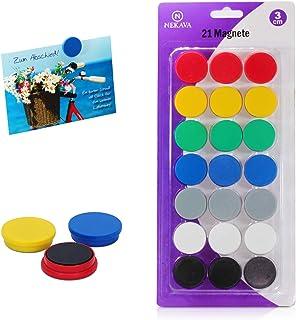 Nekava 21 aimants pour tableau blanc en 7 couleurs. Les petits aimants ronds sont parfaits pour l'école, les séminaires, l...