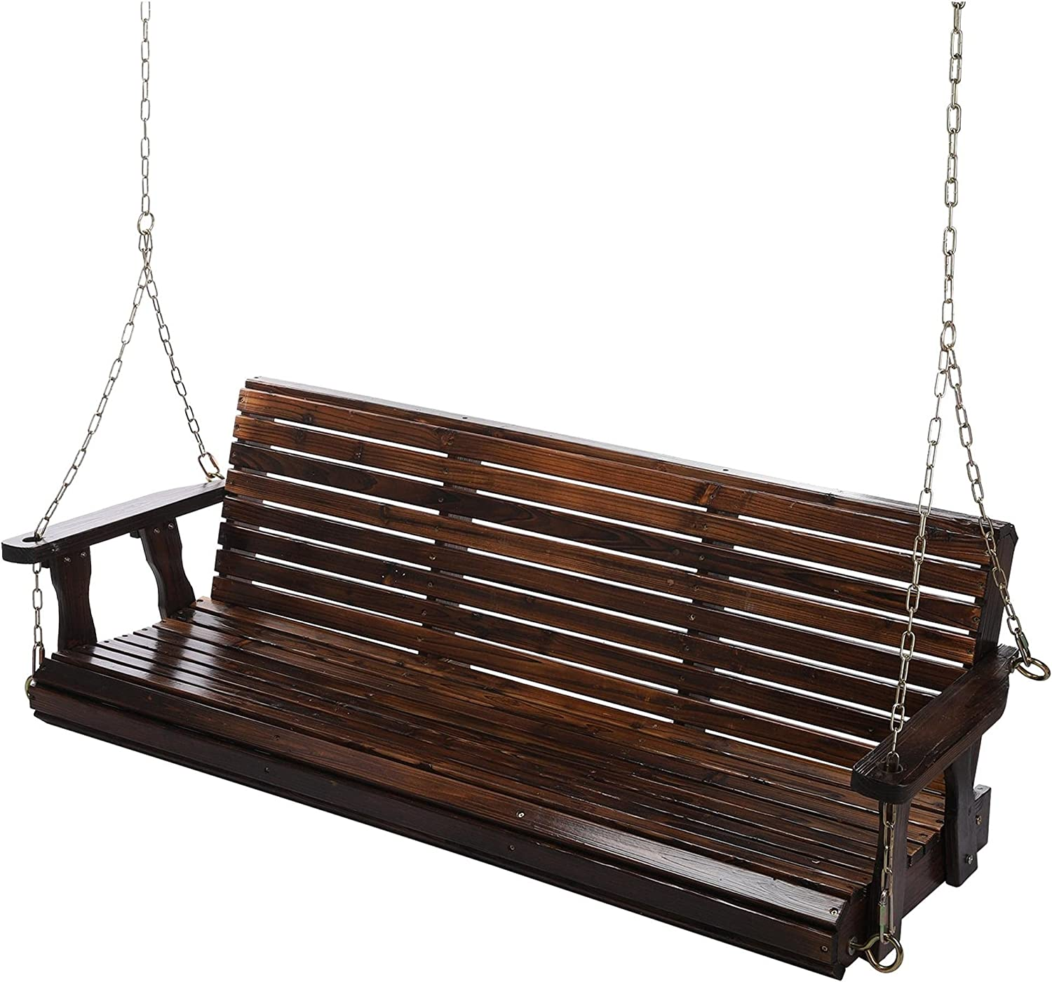 Outdoor Porch Swing Bench Patio, Jolincc 5 Ft Wooden 3 Person Swing, Fed-Resistant Patio Swing with 800lbs Duty Rating, Steel Chains, All-Weather Garden Swing for Enjoying and Relaxing
