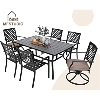 """MFSTUDIO 7-Piece Metal Outdoor Patio Dining Set with 6 Armrest Chairs and 1 Steel Rectangular Table with 1.57"""" Umbrella Hole, L60 x W38 x H28 Table, 4 Backyard Garden Chairs, 2 Swivel Chairs, Black"""