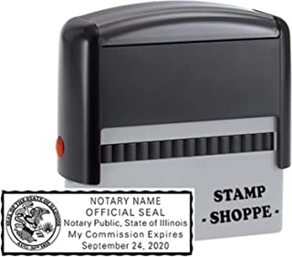 Illinois Notary Grey Stamp Self Inking | Printy 4913, 2.3x0.81 Inch Rectangular Prints | Illinois (Stamp)