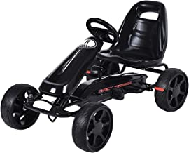 Costzon Go Kart, 4 Wheel Powered Ride On Toy, Outdoor Racer Pedal Car with Clutch, Brake, EVA Rubber Tires, Adjustable Seat, Black