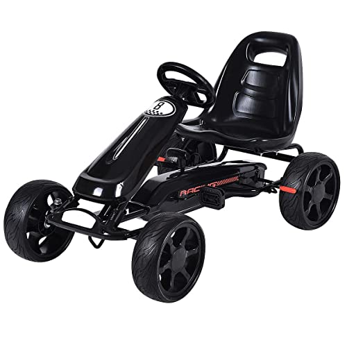Costzon Go Kart, 4 Wheel Powered Ride On Toy, Outdoor Racer Pedal Car with