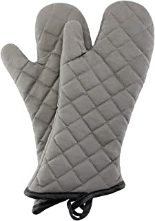 Oven Mitts 1 Pair of Quilted Cotton Lining 16 inches - Heat Resistant 500 Degree Kitchen Gloves,Flame Oven Mitt Set for Co...