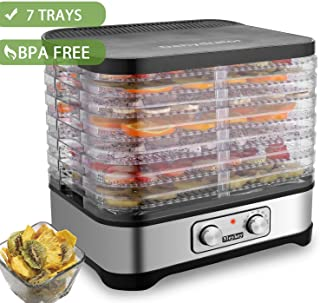 Hauture Food Dehydrator Machine, Electric Food Dryer for Jerky, Beef, Fruit, Vegetable, 7 Trays, Knob/BPA Free