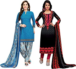 Rajnandini Women's Blue And Black Cotton Printed Unstitched Salwar Suit Material (Combo Of 2) (Free Size)