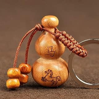 Chinese Gourd Keychain 12 Zodiac Rat Cattle Tiger Rabbit Dragon Snake Horse Sheep Monkey Chicken Dog Pig Pendant + Lucky Red String Bracelet (Horse)