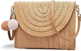 Sponsored Ad - Straw Clutch Purse Summer Beach Crossbody Bags Shoulder Purse Woven Rattan Purse Handmade for Women Casual
