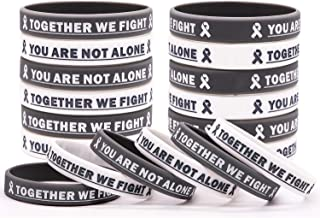 Cancer Awareness Rubber Bracelet Ribbon Silicone Wristband with Saying Together We Fight, You are Not Alone. Gift for Pati...