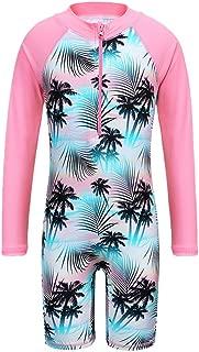Girls Swimsuit 3-10 Years UPF 50+ UV One Piece Swimwear with Zipper