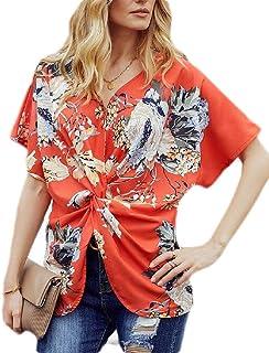 KLJR Women V Neck Casual Floral Print Twist Knot Front T-Shirts Blouse Tops