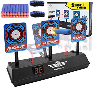 JTKS Target Practice Shooting for Nerf Elite Mega Rival, Electric Scoring Auto Reset Shooting Digital Target for Kids Boys Girls with 20 PCS Refill Darts and 2PCS Hand Wrist Bands