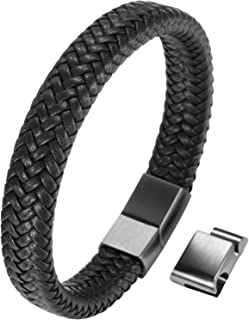 Mens Bracelet Stainless Steel Braided Real Leather Bracelet with Cables Bracelet for Men