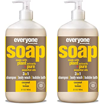 Everyone 3-in-1 Soap: Shampoo, Body Wash, & Bubble Bath, Coconut and Lemon, 32 Ounce, 2 Count