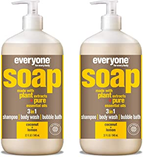 Everyone 3-in-1 Soap - Body Wash, Shampoo, and Bubble Bath - Coconut + Lemon, 32 Fl Oz (Pack of 2)