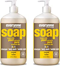 Everyone 3-in-1 Soap - Body Wash, Shampoo, and Bubble Bath - Coconut + Lemon, 32 Fl Oz (Pack of 2)