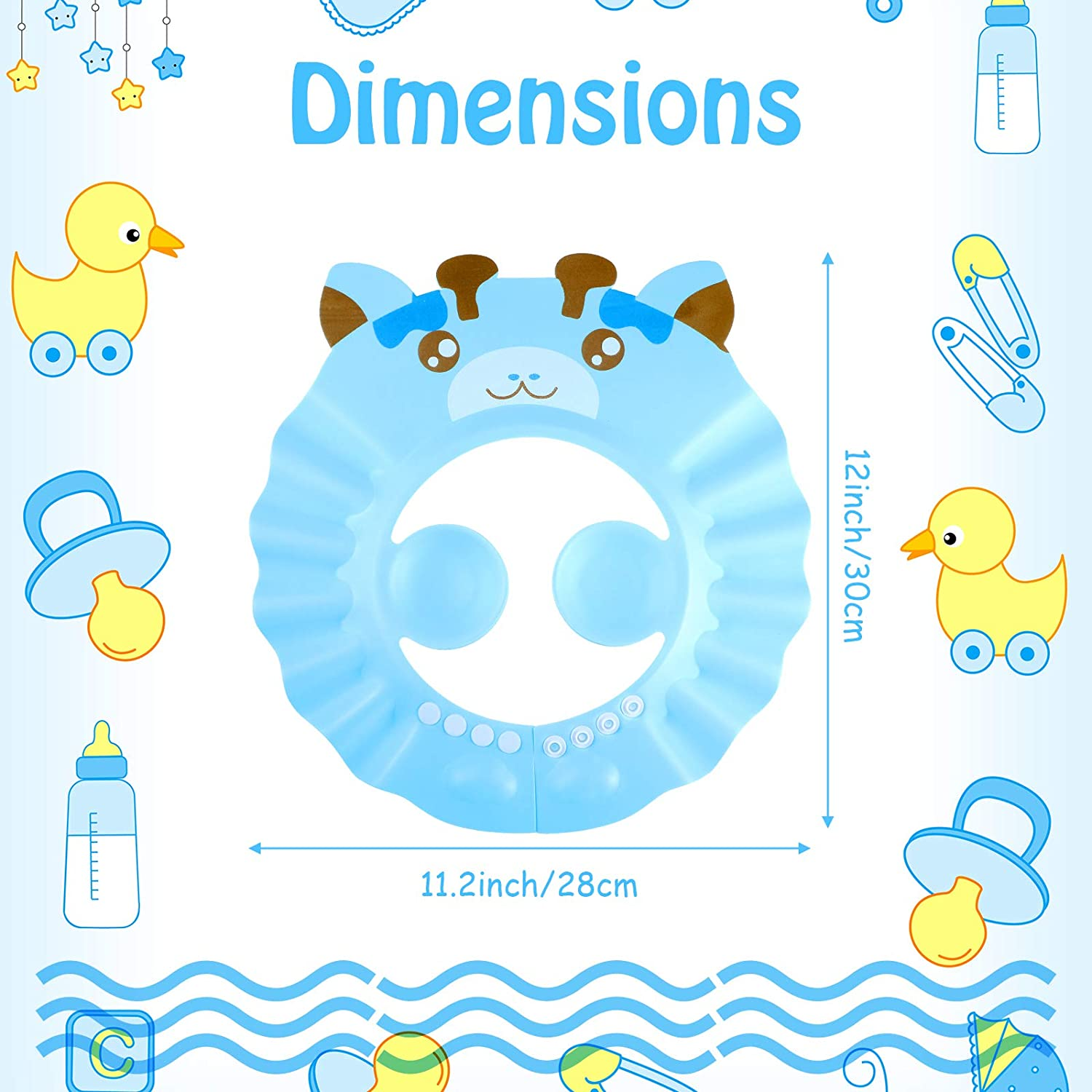 3 Pieces Baby Shower Cap Adjustable Baby Bath Visor Infant Bathing Protection Cap Safe Shampoo Shower Hat with Ear Protection Baby Hair Washing Aids for Baby Toddler Children Kids, Blue Yellow Pink