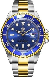 REGINALD Men Gold Watch Rotatable Bezel Waterproof Sapphire Stainless Steel Date Quartz Black Watches