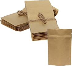 AwePackage 2 oz Kraft Paper Stand up Zipper Pouch Bags(100 Pack) - FDA and USDA compliant Heavy 6 Mil 4X6X2 Inch