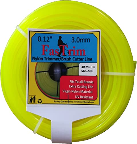 FASTRIM 3.0mm(0.12 inch) 40metreSquare/Yellow/Grass Cutter/Nylon Trimmer line