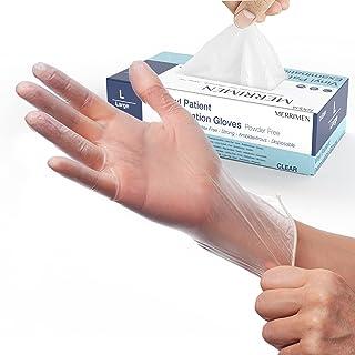 Merrimen | Gloves, disposable gloves, Multi purpose & extra strong, Powder free vinyl gloves, Box of 100