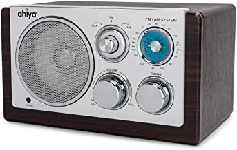 ahiya Radios AM FM Radio Receiver UL Certified AC 120V Adapter Rotary Button Tuning Volume Control Built-in 5W Speaker Wood Cabinet 68.3 in Long Power Cable Dark Brown